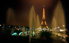 Parigi, Torre Eiffel, fontana, notte