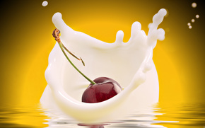 черешня,  молоко,  желтый,  фон,  фрукт,  еда