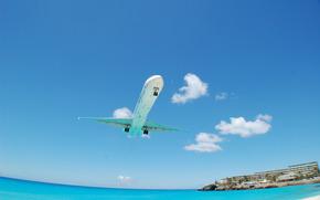 пейзажи, авиация, самолёты, пляжи, море, гостиница, гостиницы, дома, вода, океан
