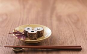 sushi, Sticks, leaves