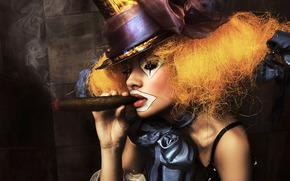 menina, palhao, maquiagem, charuto, retrato, chapu, arco, fumar
