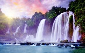 waterfall, tropics, Yarkon, sun, beautiful, sky, clouds, paradise