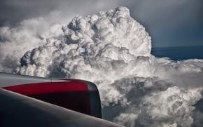 облака, турбина, крыло, полет