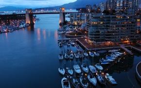City, lights, sea