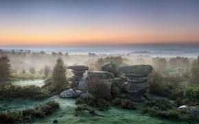 fog, stones, sky, horizon