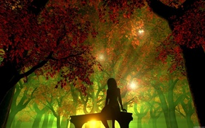 forest, silhouette, girl
