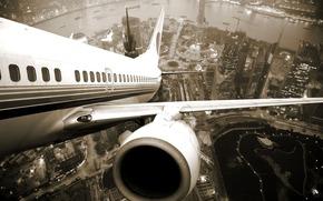 самолёт, город, шанхай, высота, крыло, турбина