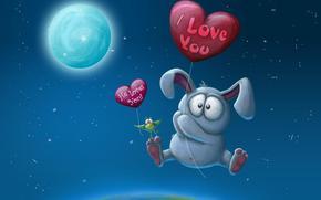 зайчик, птичка, шарики, любовь, луна, звёзды, полёт