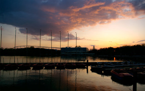 landscape, pier, river, wharf, Boat, horizon