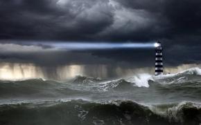 океан,  шторм,  волны,  небо,  тучи,  дождь,  ливень,  маяк,  луч,  свет,  стихия