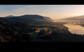Greg Martin,  долина,  речка,  холмы,  горы,  холм,  деревтя,  зелень,  небо