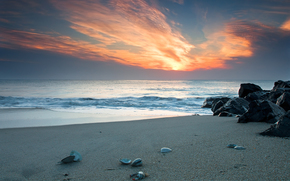 beauty, beautiful scenery to your desktop, sand, Beaches, coast, coast, shell, shells, sink, shell, crabs, stone, stones, sunsets, sky, heaven, water, sea, ocean