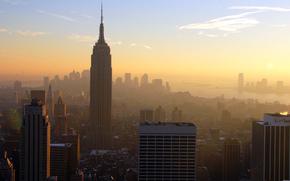 panorama, Ville, New York, la grosse pomme, Manhattan, Centre d'affaires, L'Empire State Building, USA, Gratte-ciel, maison, btiment, mgalopole, soire, soleil, coucher du soleil, nuages, ciel