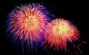 salute, explosion, bright, краски