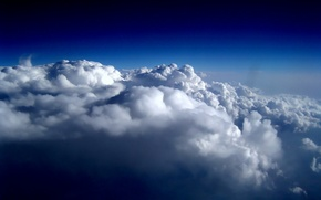 clouds, night, flight