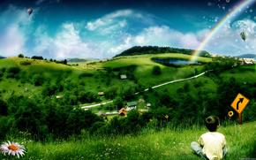 ребенок,  воздушный шар,  ромашка,  радуга,  холм,  хломы