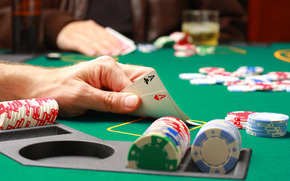casin, carte, Aces, poker, patatine fritte