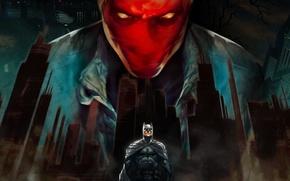 batman, superhero, cloak, mask, red skull, Gotham City