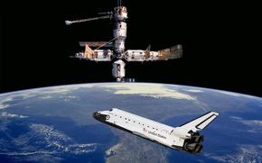 Shuttle, space, land, Shuttle, station