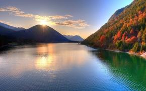 pr do sol, Montanhas, natureza, sol