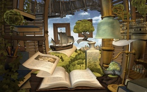Books, Shelves, ship, travel