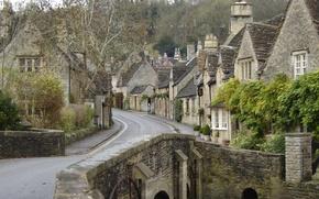 Angleterre, Bibury, rue, pont, maison
