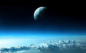 cielo, las nubes, planeta, Espacio