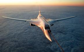 Ту-160,  белый лебедь,  полёт,  облака,  бомбардировщик