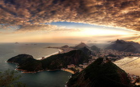 Brazil, Rio, bay, sky, clouds, sunset, sea, with altitude, Hills, Mountains