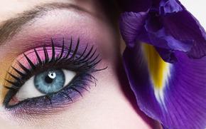 視線, 花, 青