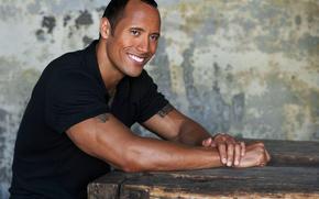 Dwayne Johnson, hombre, negro T-shirt, sonrer
