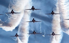 самолёты,  строй,  дым,  небо