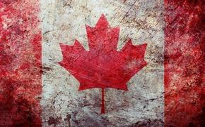 struttura, superficie, logoramento, bandiera, Canada, carta da parati