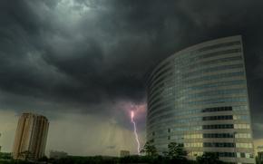 nuvoloso, nuvole, fulmine, casa, edificio