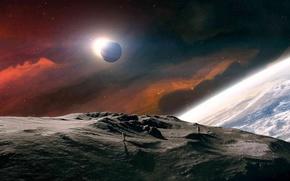 moon, land, kosmonovaty, sun, Planet, Star
