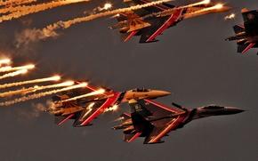 Сухой,  Су-27,  полёт,  вечер,  ИК