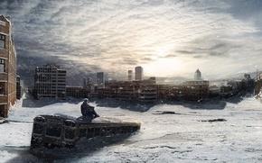 город,  зима,  человек