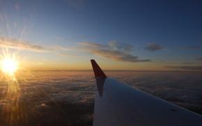 самолет,  крыло,  небо,  высота,  облака,  солнце,  лучи,  свет,  горизонт,  вид