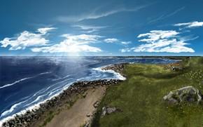рисунок красками, море, пейзад, ландшафт, облака, трава, камни, пена, берег, лучи