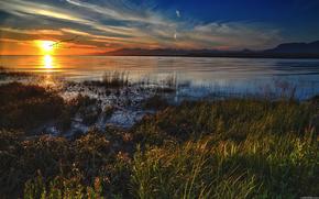 lago, tramonto, Uccelli