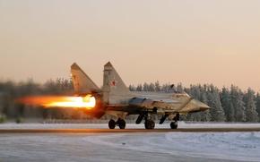 миг-31,  истребитель,  взлёт,  пламя