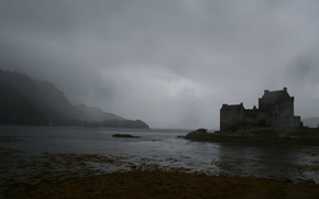 шотландия,  замок,  эйлен-донан,  озеро,  дождь,  тучи,  ненастье