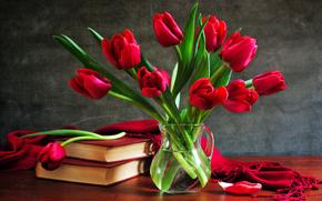still life, Tulips, bouquet, vase, Books