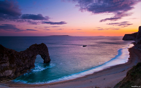landscapes, nature, sea, ocean, water, coast, sky, coast, pebble, rock, rocks, arch, Arch, evening, sunsets, beautiful widescreen desktop wallpaper