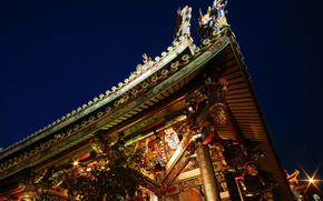 Chiny, architektura, styl, dach, dom, niebo