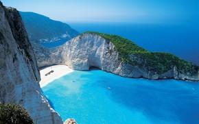 sea, azure, beach, lagoon, rock, Greece, greens, horizon, Yacht, paradise