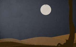 minimalism, paper, moon