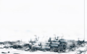 City, Techno, Industrial, Plant, snow, white