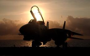f-14, Kater, Kmpfer, Flugzeug, Sonnenuntergang