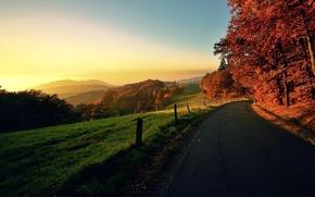 paesaggio, natura, natura, tramonto, alba, sole, cielo, orizzonte, strada, villaggio, terreno, alberi, fogliame, autunno, autunno